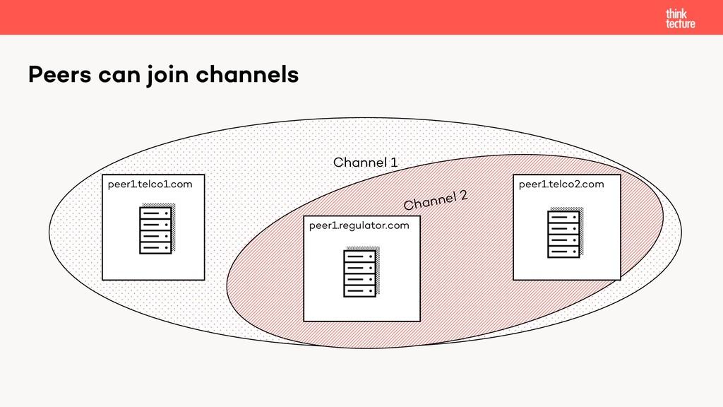 Channel 1 Channel 2 Peers can join channels pee...