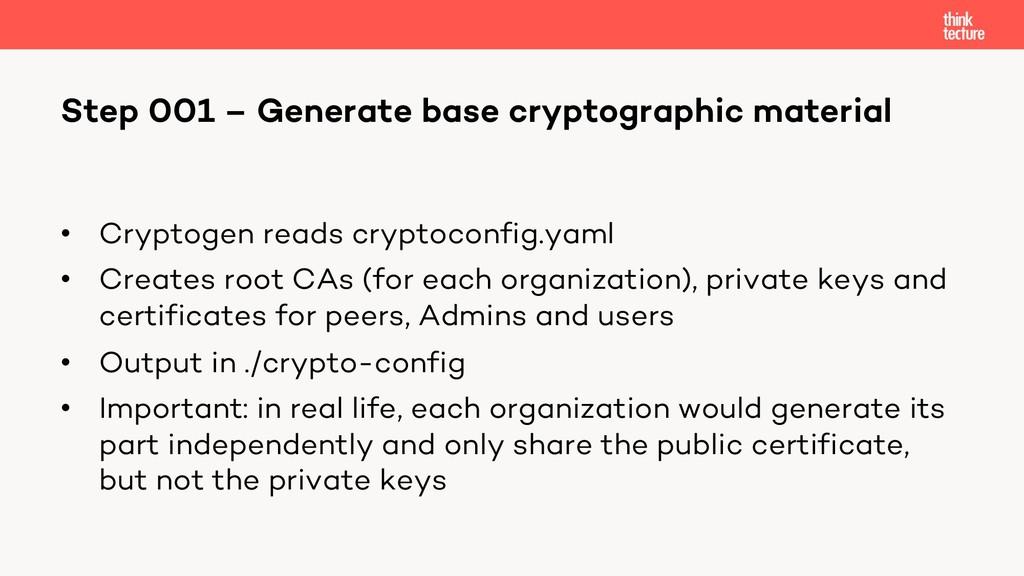 • Cryptogen reads cryptoconfig.yaml • Creates r...