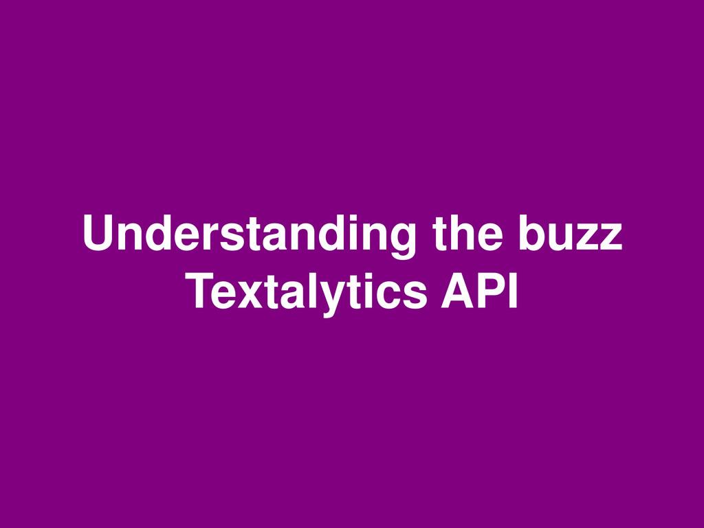 Understanding the buzz Textalytics API
