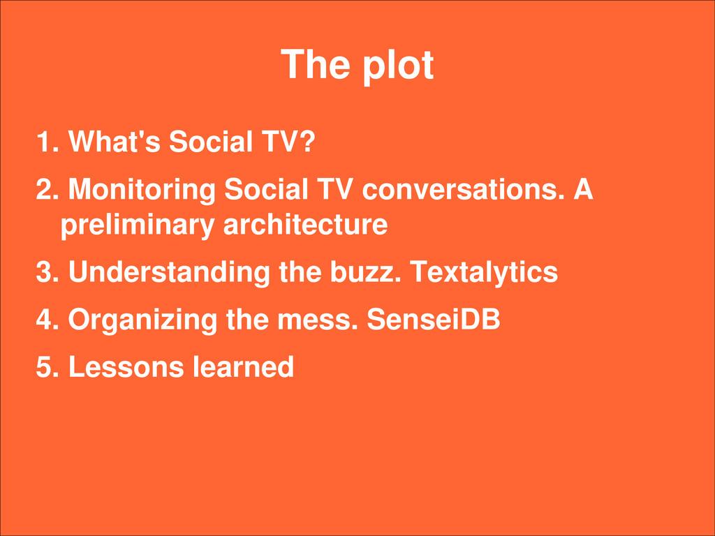 The plot 1. What's Social TV? 2. Monitoring Soc...