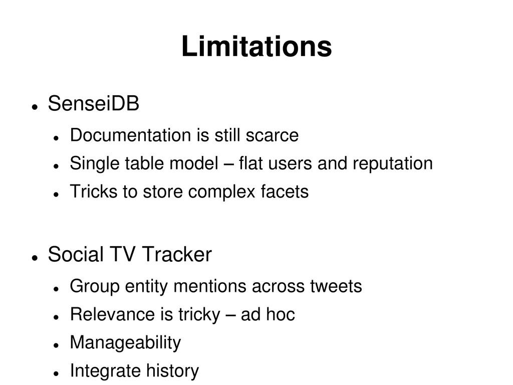 Limitations  SenseiDB  Documentation is still...