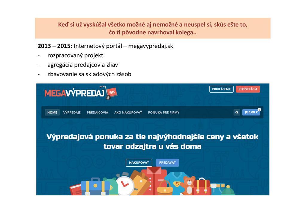 2013 – 2015: Internetový portál – megavypredaj....
