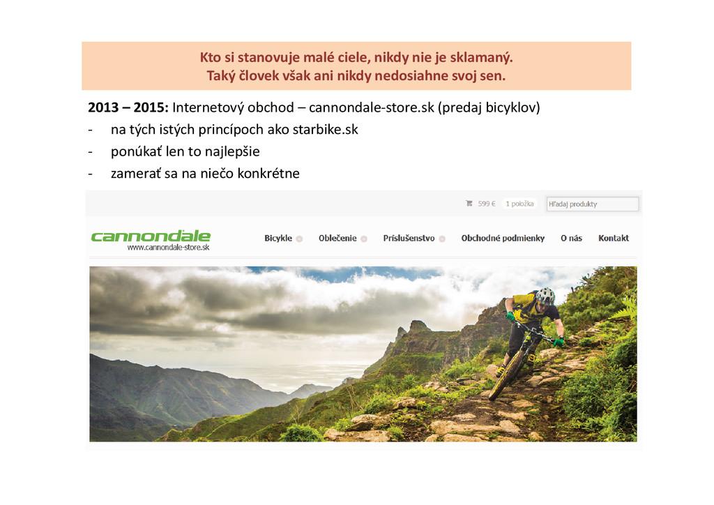 2013 – 2015: Internetový obchod – cannondale-st...