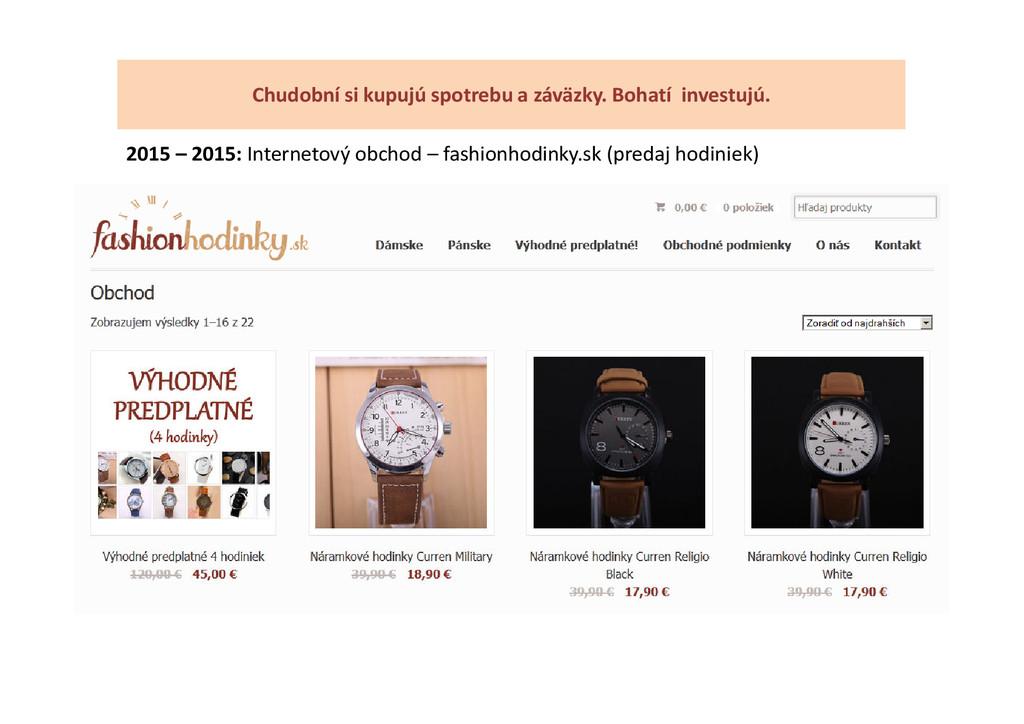 2015 – 2015: Internetový obchod – fashionhodink...