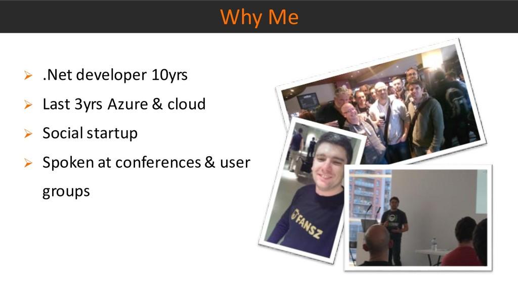 Why Me ➢ .Net developer 10yrs ➢ Last 3yrs Azure...