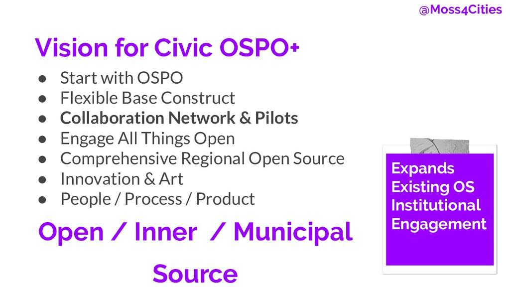 Vision for Civic OSPO+ ● Start with OSPO ● Flex...