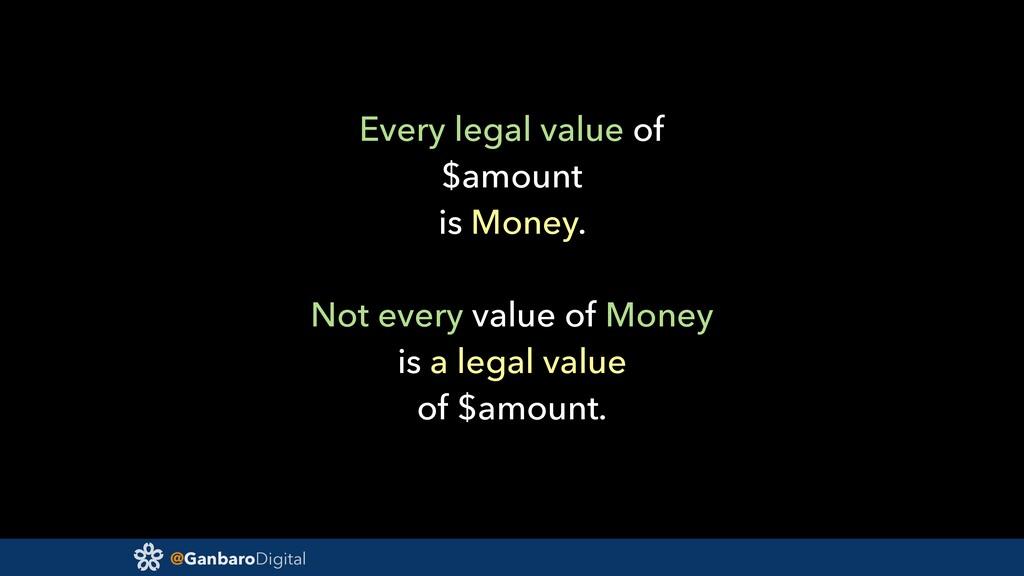 @GanbaroDigital Every legal value of $amount is...