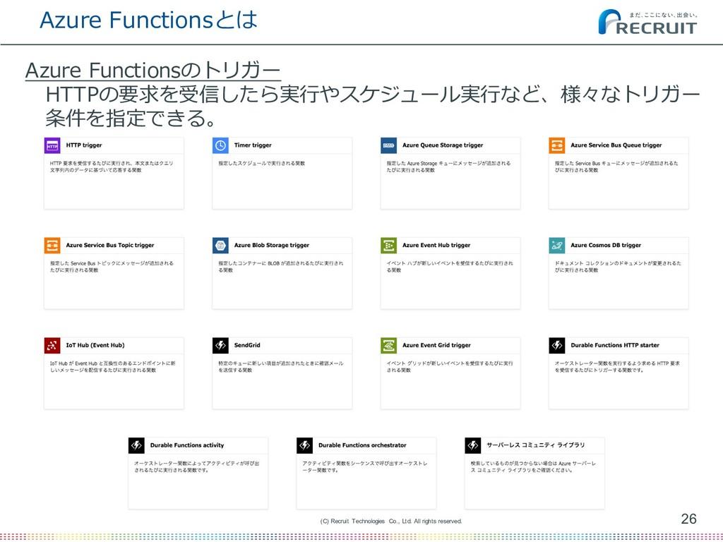 Azure Functionsとは 26 (C) Recruit Technologies C...