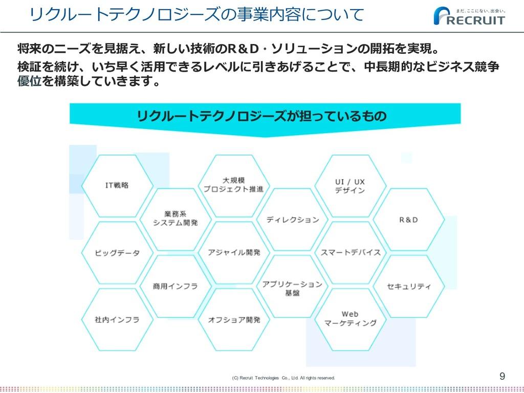 リクルートテクノロジーズの事業内容について 9 (C) Recruit Technologie...