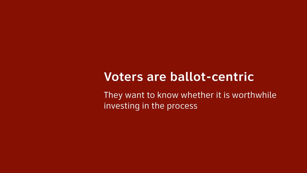 Voters are ballot-centric They want to know whe...