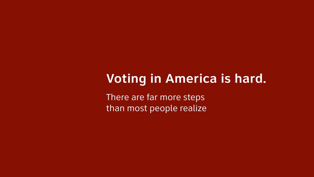 Voting in America is hard. There are far more s...