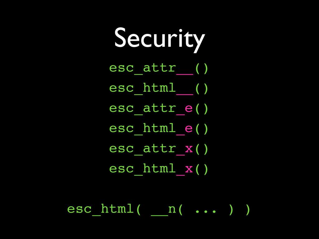 Security esc_attr__() esc_html__() esc_attr_e()...