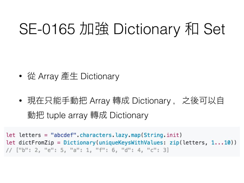 SE-0165 Ճڧ Dictionary  Set • ኺ Array 㗞ੜ Dictio...