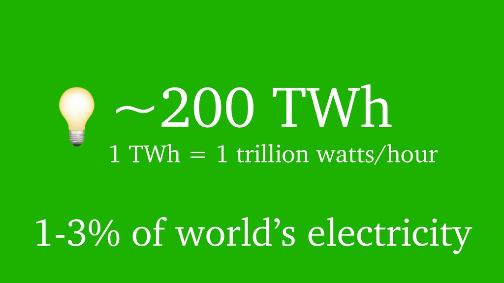 ~200 TWh 1-3% of world's electricity 1 TWh = 1...