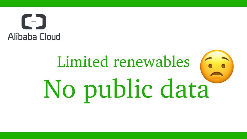 No public data  Limited renewables