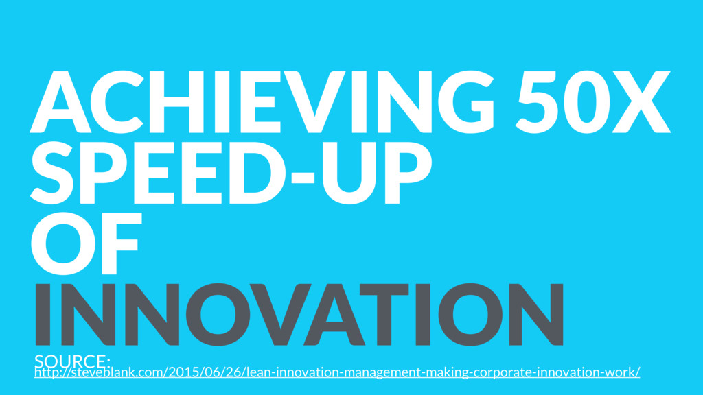 ACHIEVING 50X SPEED-UP OF INNOVATION SOURCE: 