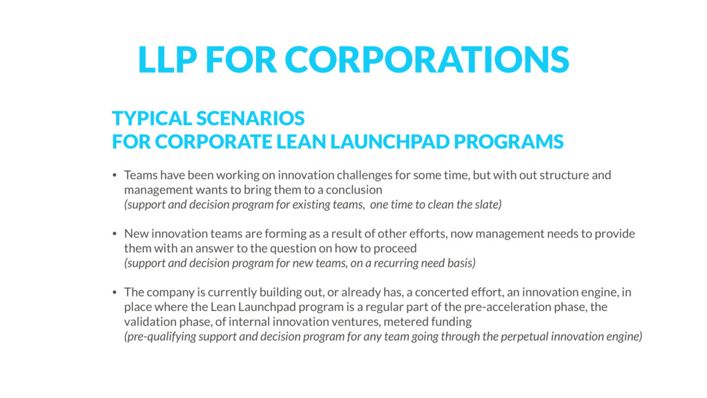 TYPICAL SCENARIOS 