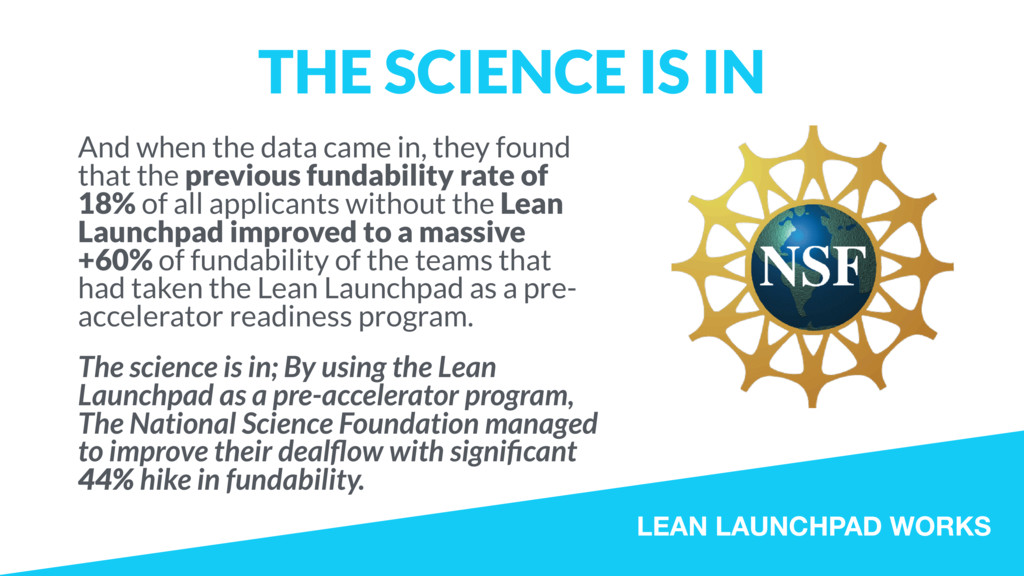LEAN LAUNCHPAD WORKS THE SCIENCE IS IN And when...