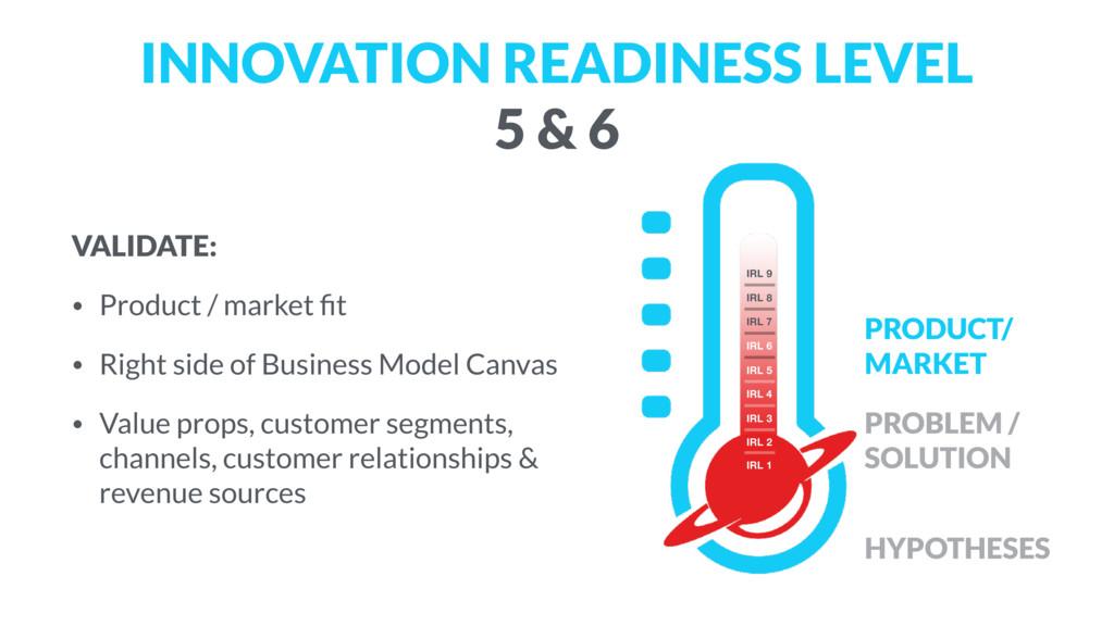 INNOVATION READINESS LEVEL  5 & 6 VALIDATE: • ...