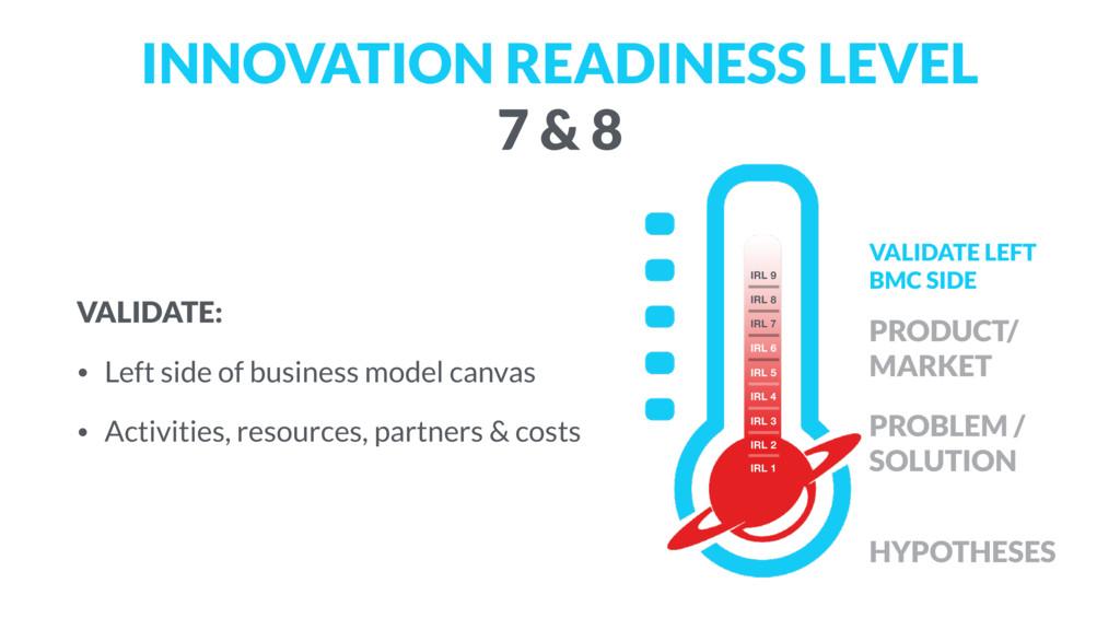 INNOVATION READINESS LEVEL  7 & 8 VALIDATE: • ...