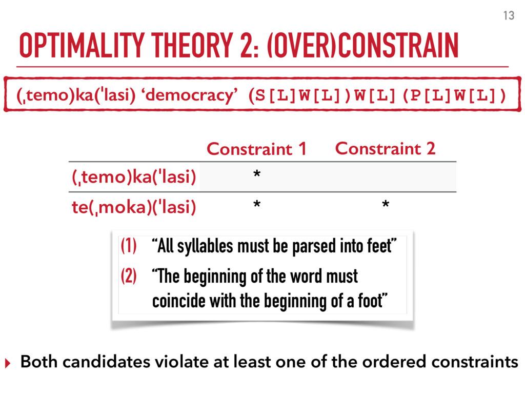 OPTIMALITY THEORY 2: (OVER)CONSTRAIN 13 (ˌtemo)...