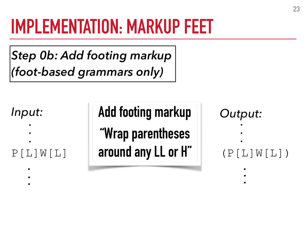 IMPLEMENTATION: MARKUP FEET 23 Output: . . . (P...