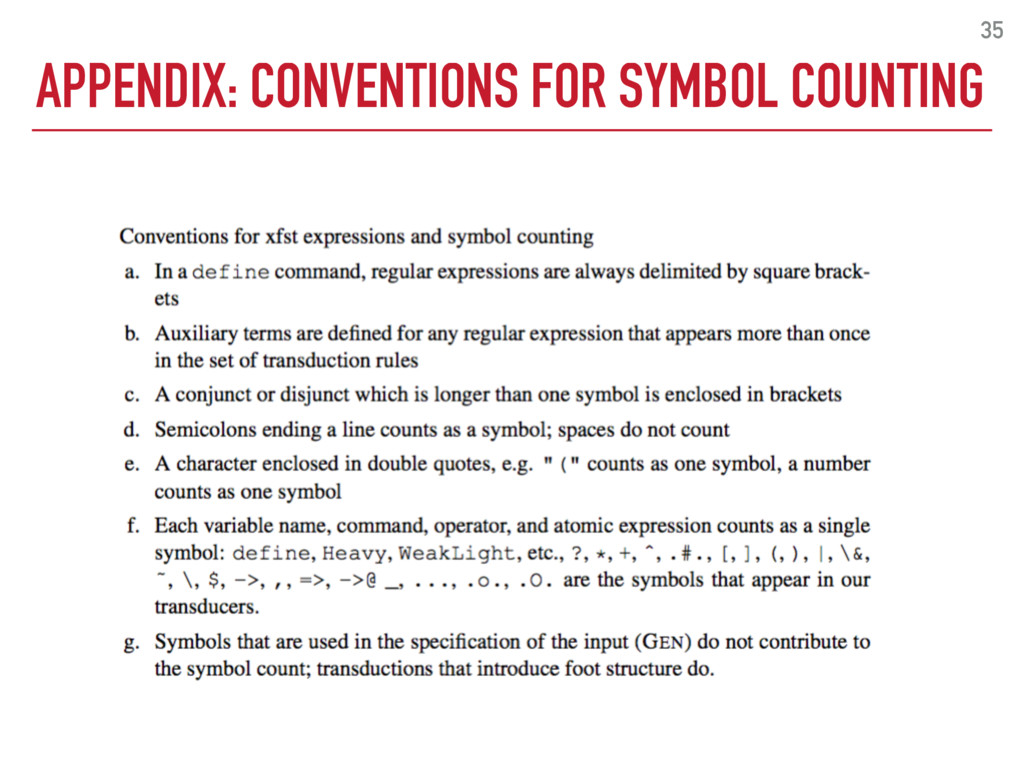 APPENDIX: CONVENTIONS FOR SYMBOL COUNTING 35