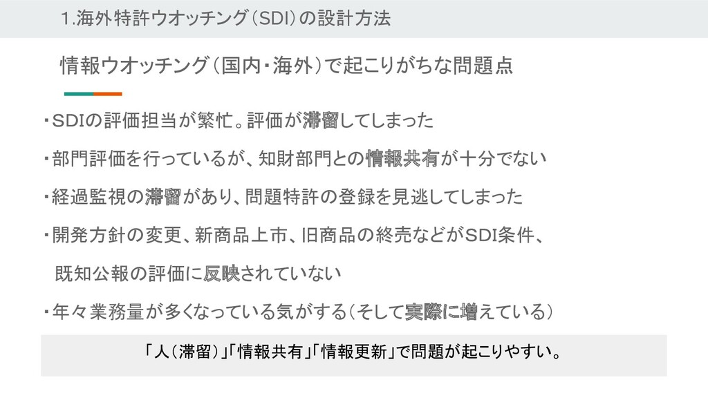 1.海外特許ウオッチング(SDI)の設計方法 ・SDIの評価担当が繁忙。評価が滞留してしまった...