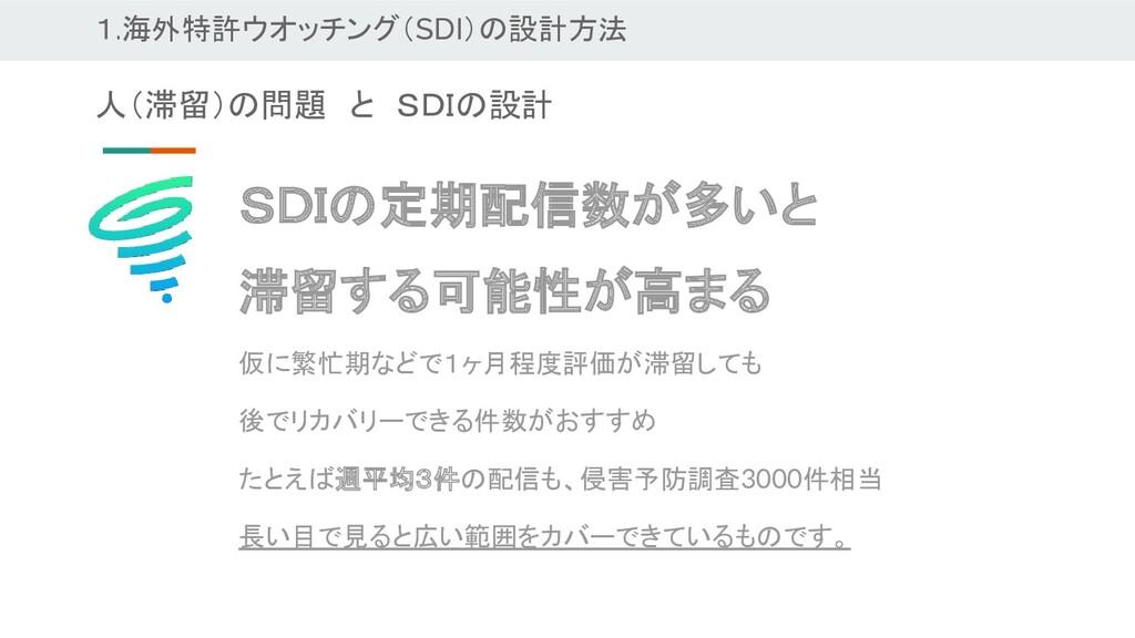 1.海外特許ウオッチング(SDI)の設計方法 SDIの定期配信数が多いと 滞留する可能性が高ま...