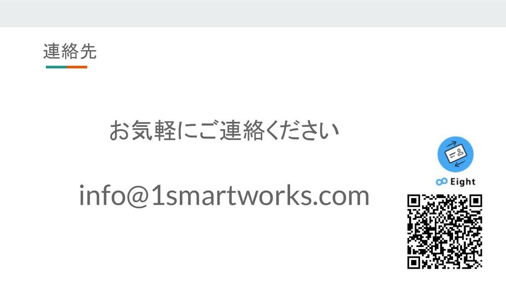 連絡先 お気軽にご連絡ください info@1smartworks.com
