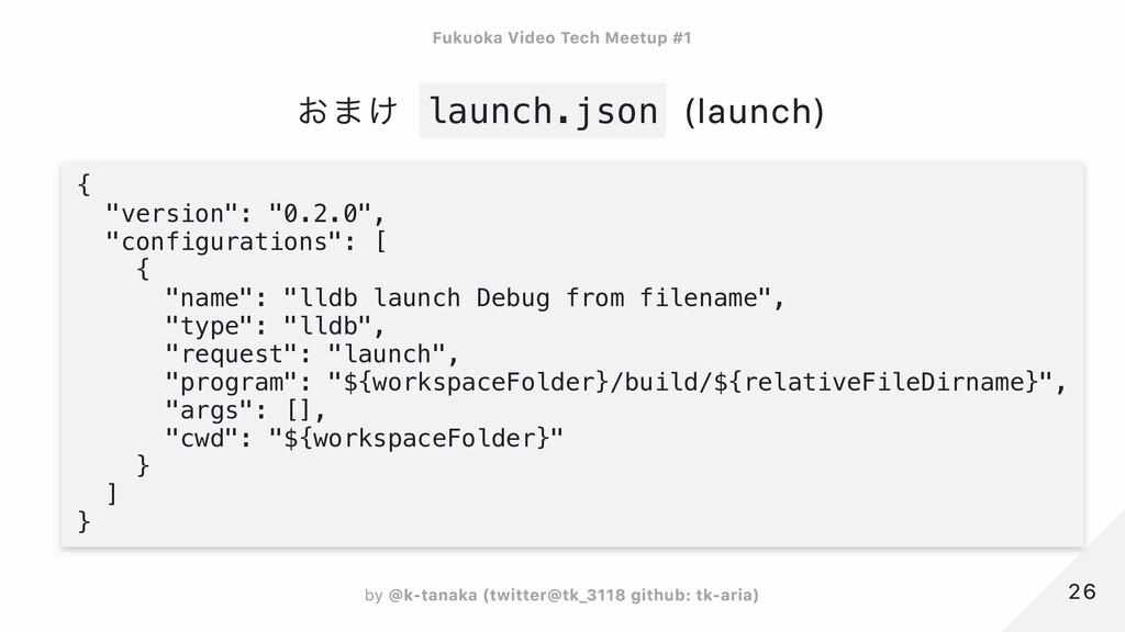 """おまけ launch.json (launch) {  """"version"""": """"0.2.0"""",..."""