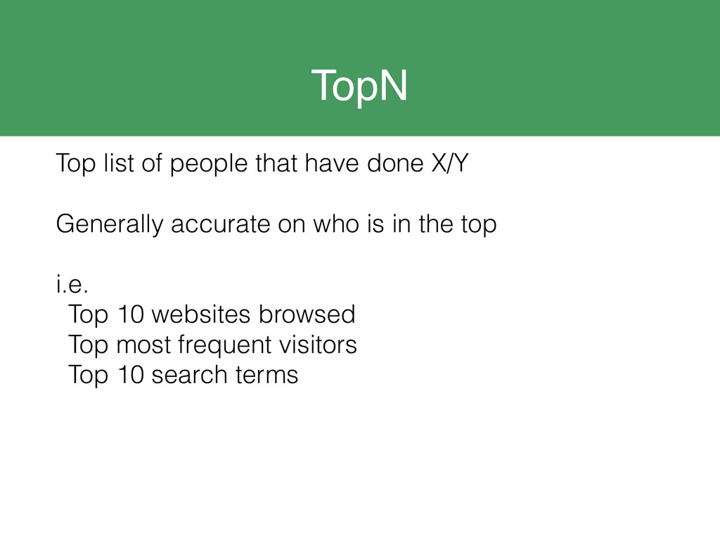 TopN Top list of people that have done X/Y Gene...