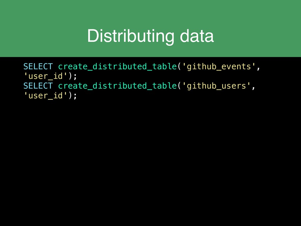 Distributing data SELECT create_distributed_tab...