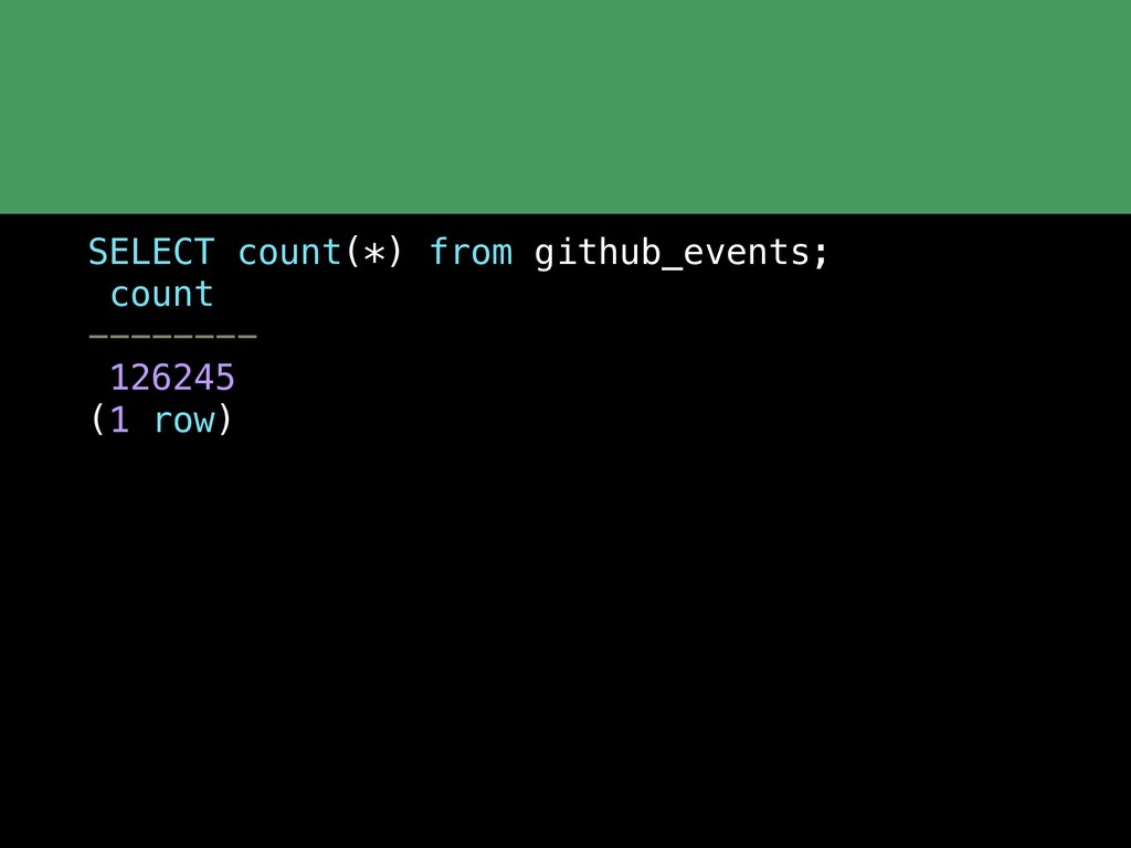 SELECT count(*) from github_events; count -----...