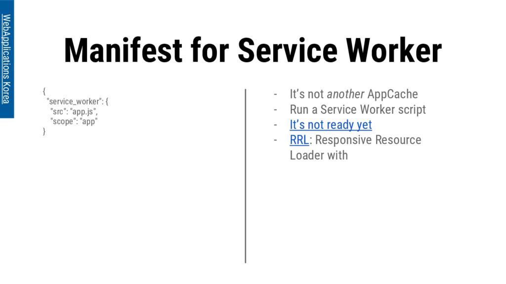 "Manifest for Service Worker { ""service_worker"":..."