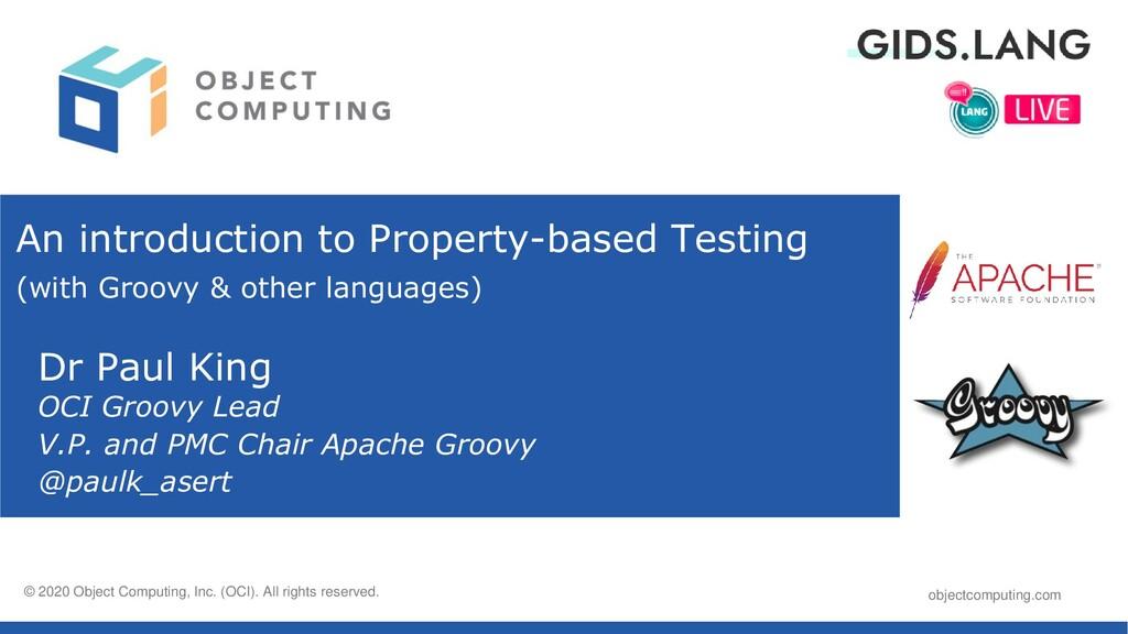 objectcomputing.com © 2020, Object Computing, I...