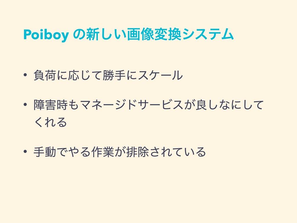 Poiboy ͷ৽͍͠ը૾มγεςϜ • ෛՙʹԠͯ͡উखʹεέʔϧ • োϚωʔδυ...