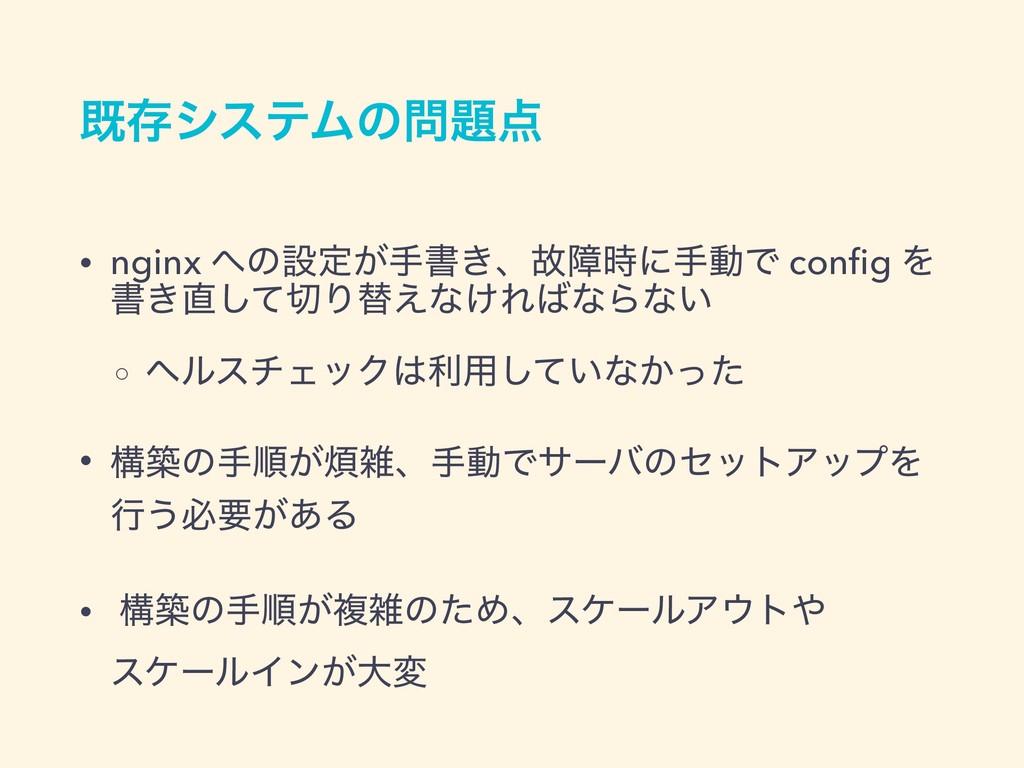طଘγεςϜͷ • nginx ͷઃఆ͕खॻ͖ɺނোʹखಈͰ config Λ ॻ͖...