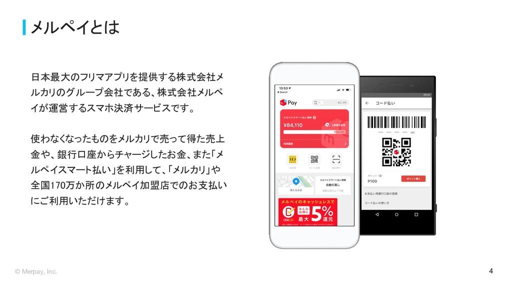 © Merpay, Inc. メルペイとは 日本最大のフリマアプリを提供する株式会社メ ルカ...