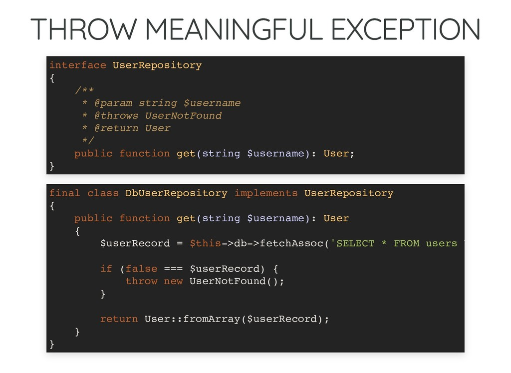THROW MEANINGFUL EXCEPTION THROW MEANINGFUL EXC...