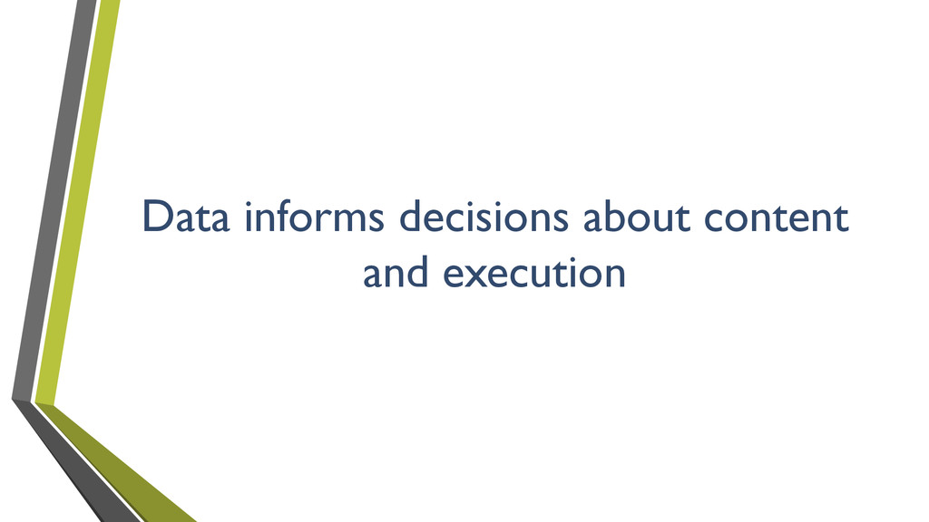Data informs decisions about content and execut...