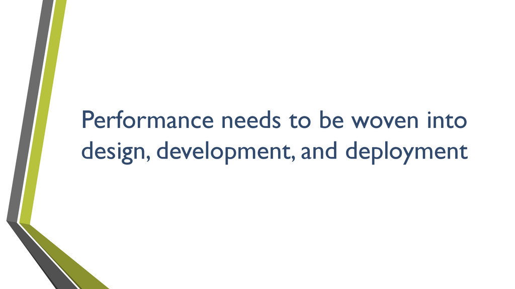 Performance needs to be woven into design, deve...