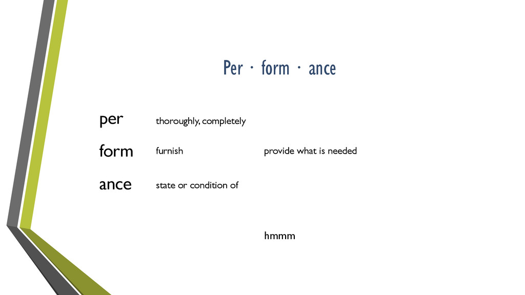 Per ∙ form ∙ ance per form ance thoroughly, com...