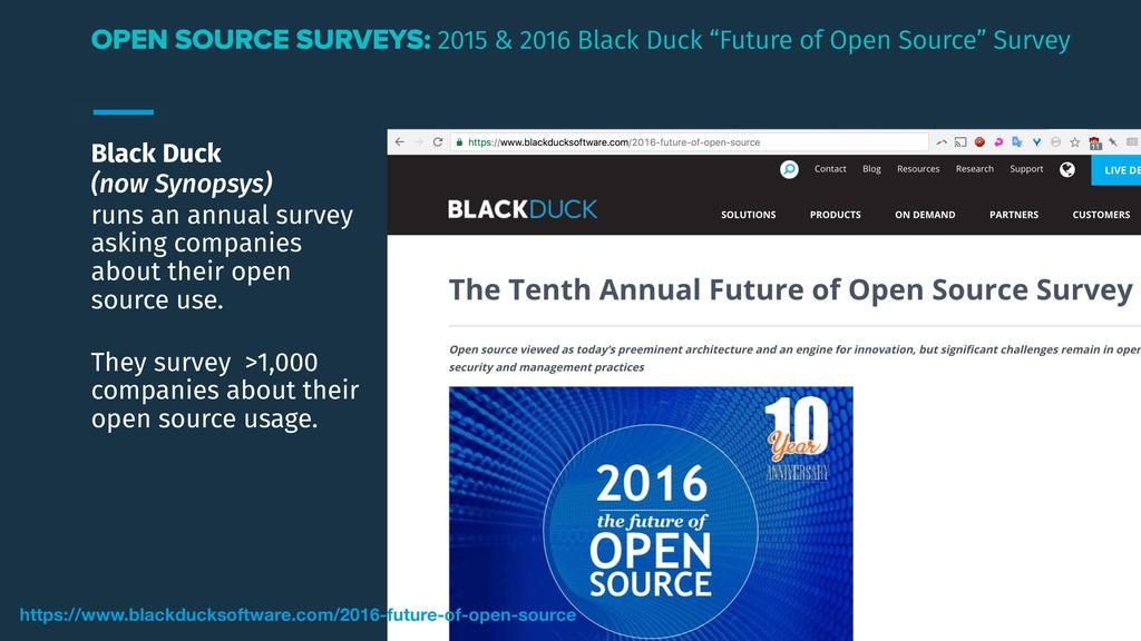 Black Duck (now Synopsys) runs an annual survey...