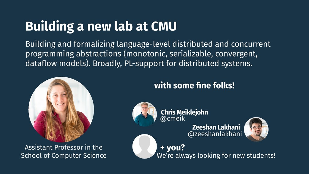 Building a new lab at CMU Chris Meiklejohn @cme...