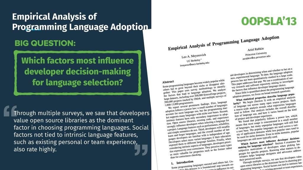 OOPSLA'13 Empirical Analysis of Programming Lan...