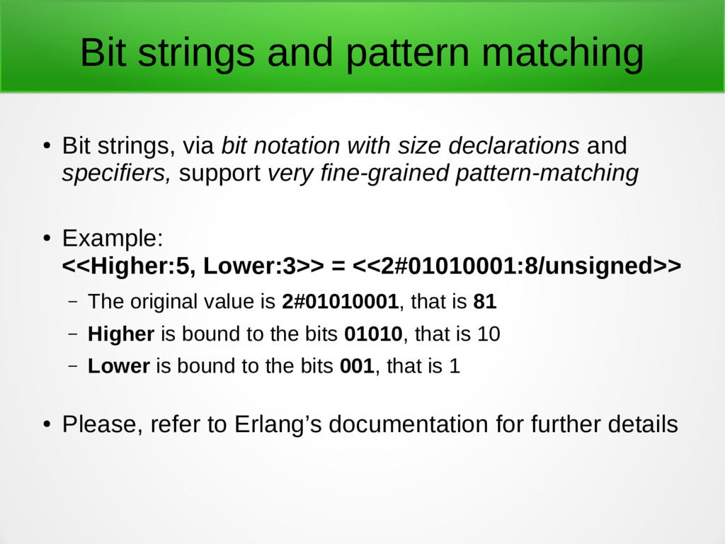 Bit strings and pattern matching ● Bit strings,...