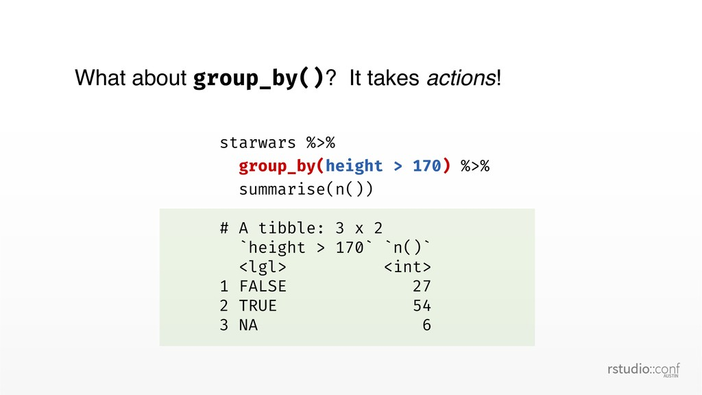 What about group_by()? It takes actions! starwa...