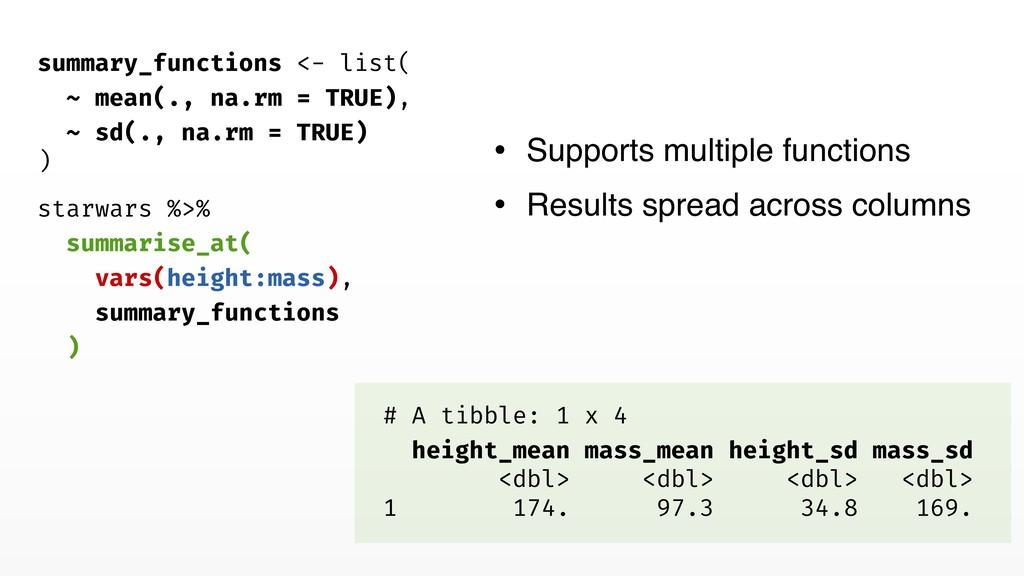 starwars %>% summarise_at( vars(height:mass), s...