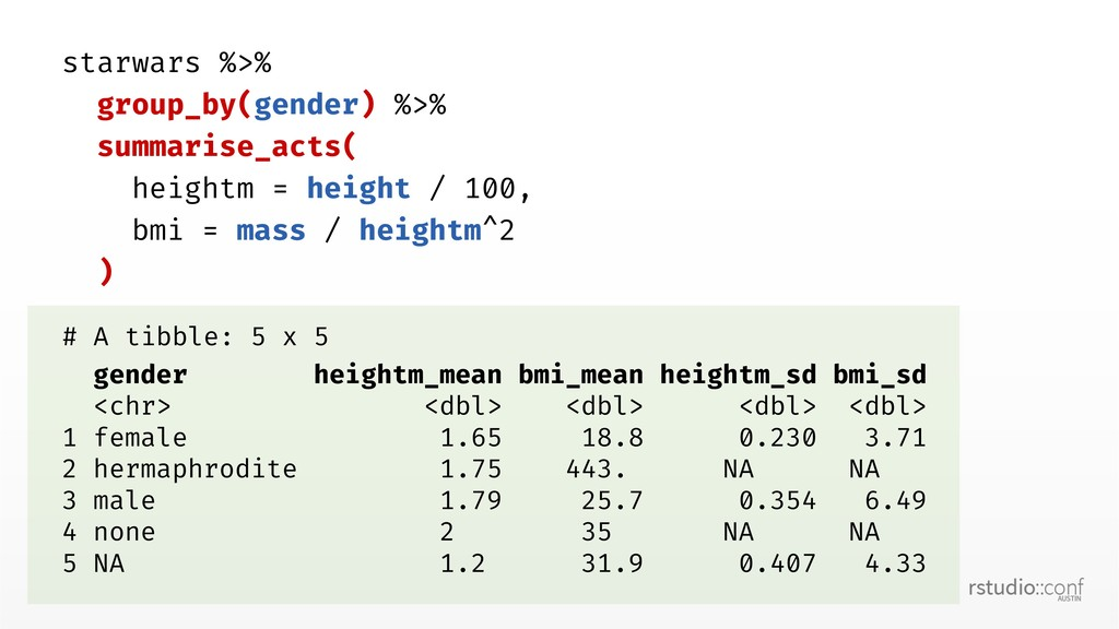starwars %>% group_by(gender) %>% summarise_act...